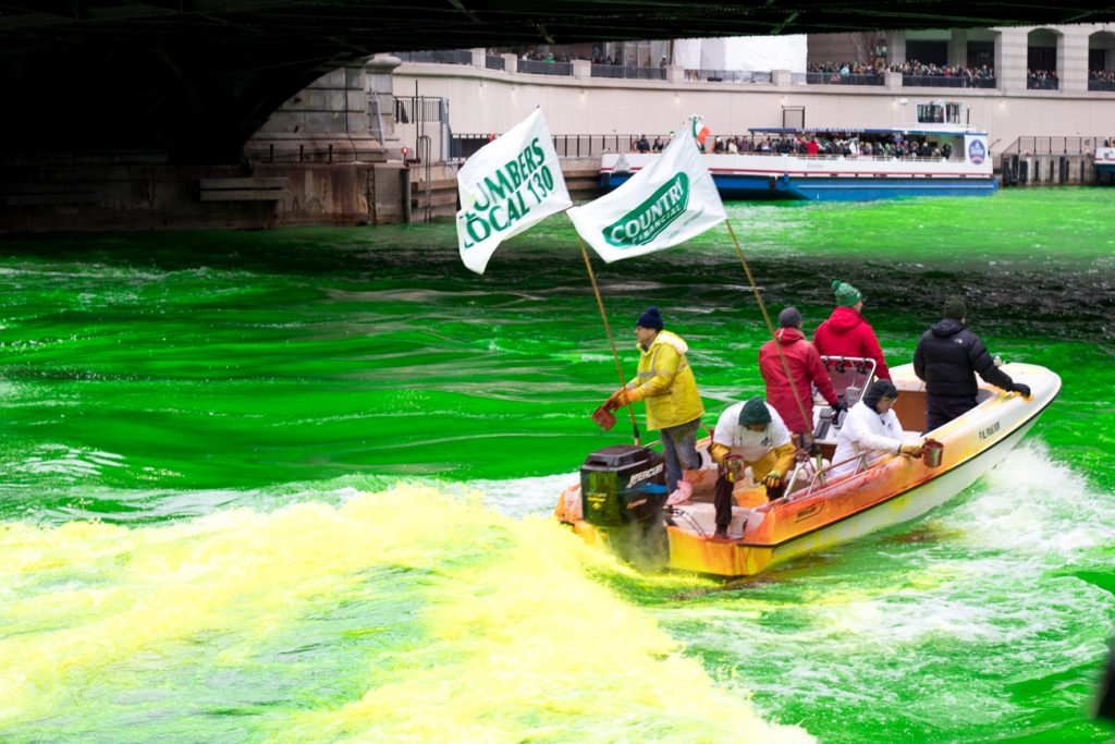 Chicago River Dyeing on St. Patrick's Day