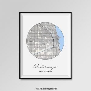 Chicago themed holiday gift ideas map print
